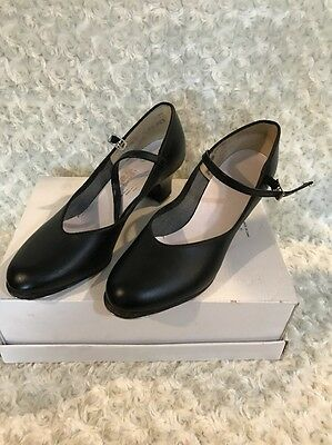 Girls/Womens Leather Leo's  Tap Shoes Size 7.5 M Black Great