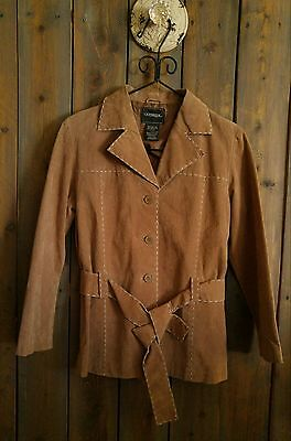 Outbrook Women's Leather Jacket Coat Suede Brown With Belt Sz M (8-10)