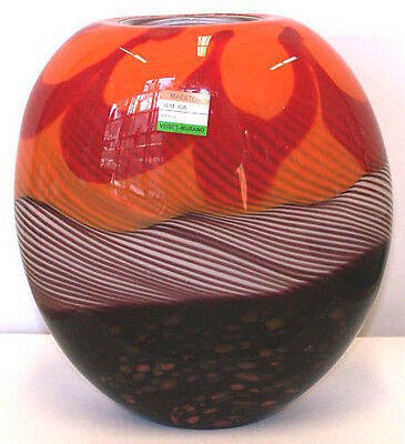 Murano Art Glass With Certificate  Art Glass Vase Luna Filligranna A05