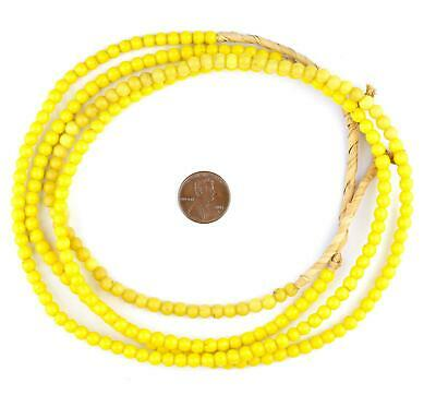 Yellow Baby Padre Olombo Beads 6mm Nigeria African Round Glass Large Hole