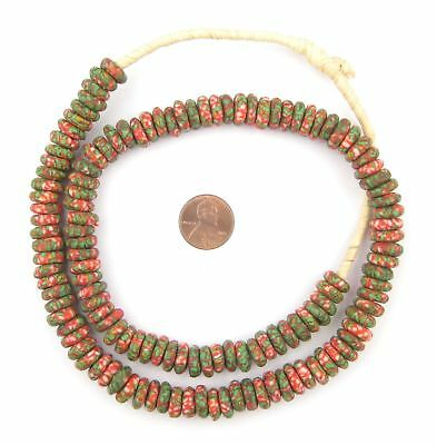 Green Candycane Fused Rondelle Recycled Glass Beads 11mm Ghana African Disk