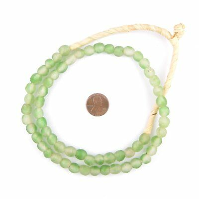 Green Swirl Recycled Glass Beads 9mm Ghana African Sea Glass Round Large Hole