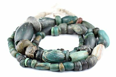 Ancient African Serpentine Stone Beads 17mm Mali Green Mixed Large Hole Handmade