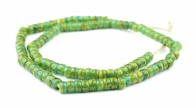 Jungle Green Kakamba Prosser Beads 9mm Ghana African Round Glass Large Hole