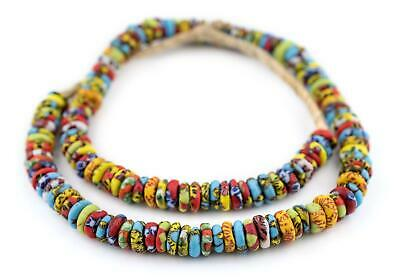 Cape Coast Fused Rondelle Recycled Glass Beads 11mm Ghana African Multicolor