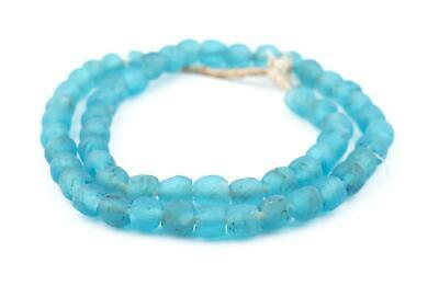 Turquoise Recycled Glass Beads 9mm Ghana African Sea Glass Blue Round Large Hole