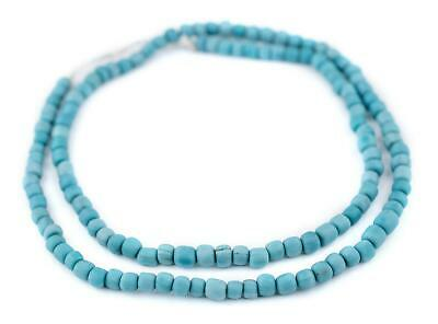 Turquoise Java Glass Beads 5mm Indonesia Blue Round 25 Inch Strand