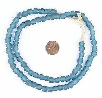 Teal Recycled Glass Beads 9mm Ghana African Sea Glass Blue Round Large Hole