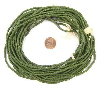 Forest Green Sandcast Seed Beads 3mm Ghana African Cylinder Glass 26 Inch Strand