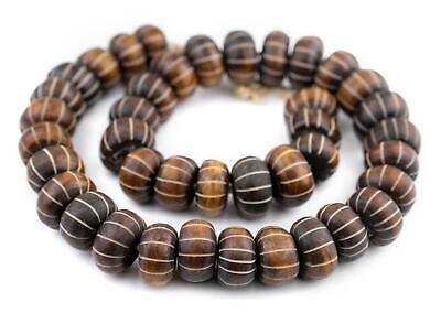 Carved Watermelon Brown Bone Beads Large 23mm Kenya African Round Large Hole
