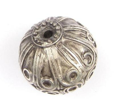 African Moroccan Silver Floral Bead (31x31mm) Morocco