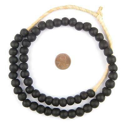 African Opaque Black Recycled Glass Beads (11mm) Ghana