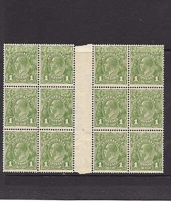 STAMPS AUST KGV  1d GREEN C OF A WMK  BLOCK OF 12 MUH