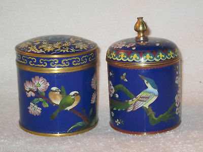Antique Oriental Cloisonne Jar Tea Caddy Box Chinese