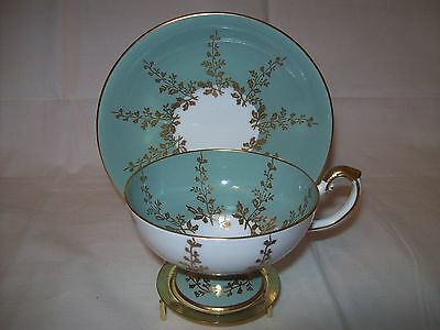 Aynsley Sage Green Gold Vines Pedestal Tea Cup And Saucer ~ Exc