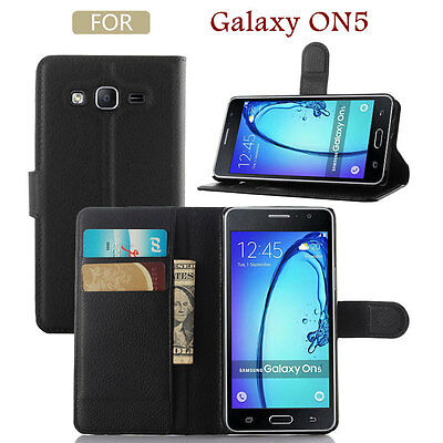 Magnetic Leather Card Packet Stand Flip Cover Case For Samsung Galaxy On5- Black