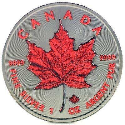 2016 1 Oz Ounce Silver Maple Leaf Coin 999 Ruthenium Colorised Red