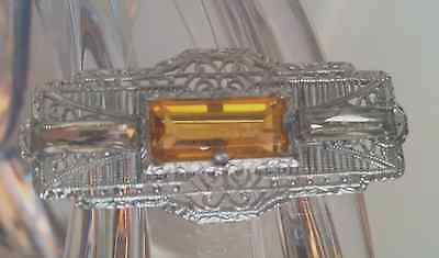 JHP & Sons Antique Brooch Silver Filigree with Citrine