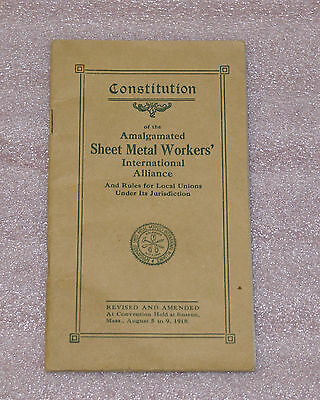 1918 Constitution of the Amalgamated Sheet Metal Workers International Alliance