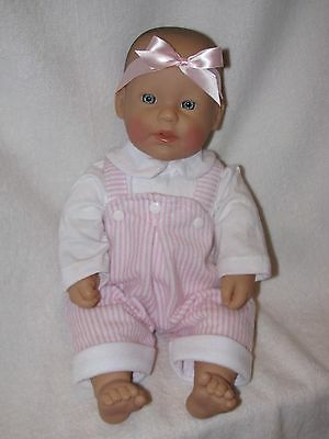 "15""  Berenguer Baby Doll Dressed In Pink & White Overalls"