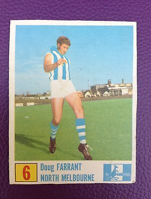 Old 1970 Kelloggs Vfl Football Cereal Cut Out Card Doug Farrant North Melbourne