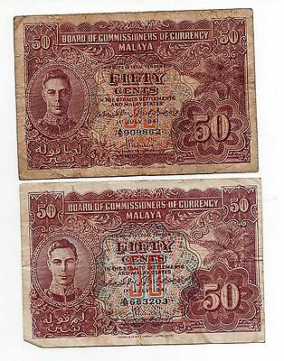 2 Malaysia Malaya Board of Commissioners of Currency 50 Fifty Cents Banknotes