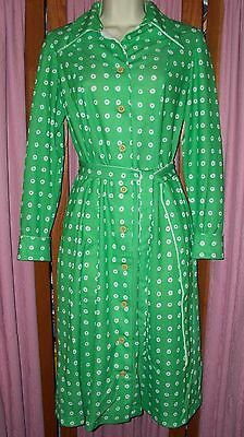 Size M Vintage Korell Green and White Polka Dot Dress with Tie Belt