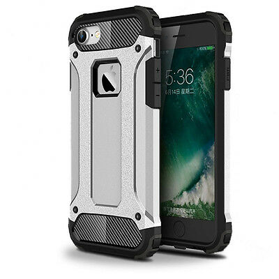 Armor Shockproof Heavy Duty Protective Rubber Case Cover For New iPhone 7-Silver
