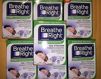Lot OF 7  BREATHE RIGHT NASAL STRIPS EXTRA CLEAR(182) Strips( Ship World Wide)