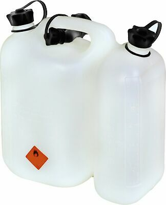 Combi canister 5,5L Petrol, 3L Oil, with Ausgießen clip, white Bezinkanister