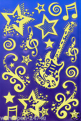 19 Glow In the Dark Stickers Musical Themed Removable Night Glow Size 22 X 14 cm