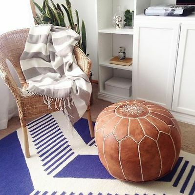 New Moroccan Leather Ottoman Pouffe Pouf Footstool In Tan