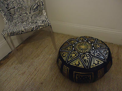 Stunning Moroccan Leather Pouf Pouffe Footstool  Ottoman or use as Coffee Table