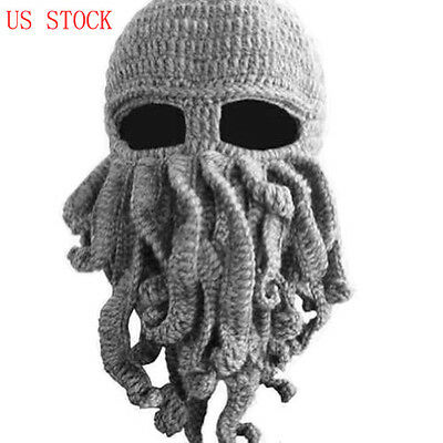 US STOCK Unisex Octopus Knitted Wool Ski Face Mask Knit Hat Squid Cap Beanie