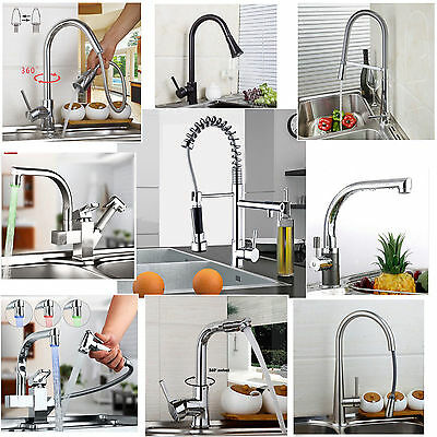 Kitchen swivel pull out faucet single handle spout basin sink mixer spray taps