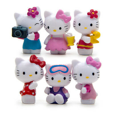 6pcs/set Cute Hello Kitty mini Figures Toy