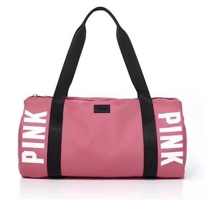 New~Victoria's Secret PINK Weekender Duffle Gym Bag Double Strap Begonia Black