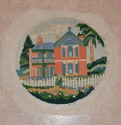 Vintage Tall Elegant House Completed Tapestry Canvas Longstitch Image = 29x28cm