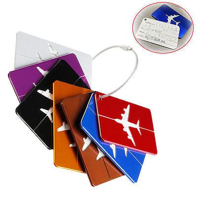 Metal Aluminium Travel Luggage Tag Backpack Baggage Suitcase Name Label 7 Colors