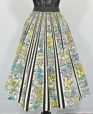 vtg 50S MEXICAN HAND PAINTED VILLAGE SCENE CACTUS GUITAR NOVELTY CIRCLE SKIRT L