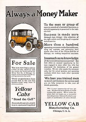 1919 Yellow Taxi Cab Ad -Yellow Cab Manufacturing Co.-Lucrative Business---t101