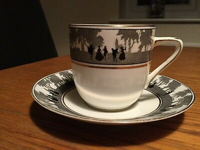 Vintage FOLEY china CUP AND SAUCER V. Elegant Black & White Silhouette Pattern!