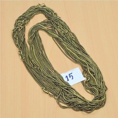 WHOLESALE 15PC SOLID BRASS PLAIN CHAIN NECKLACE JEWELRY LOT L- 30 (147.4g.)