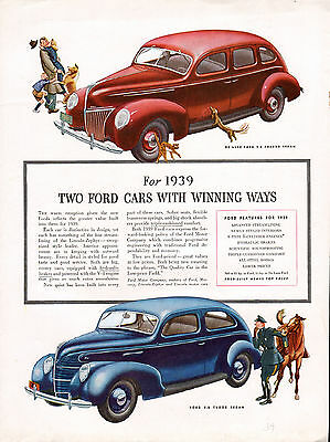 1939 Ford Car ad -New For 1939--- 2 Fords -Tudor & Fordor --t350