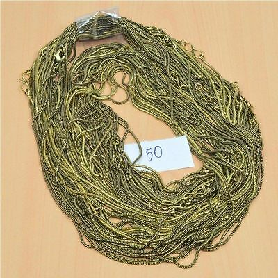WHOLESALE 50 PC SOLID BRASS PLAIN CHAIN NECKLACE JEWELRY LOT L- 30 (g.)