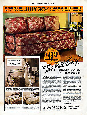 """1935 Simmons Studio Couch Ad ---""""The Pull-Easy """"----v673"""