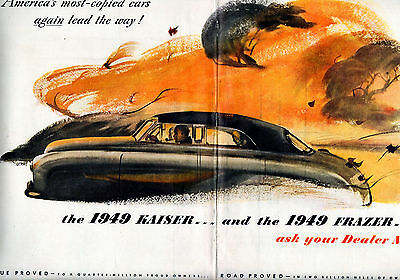 1948 Kaiser & 1949 Frazer 2 Dealer, NOW-2 page ceterfold ad --l-520