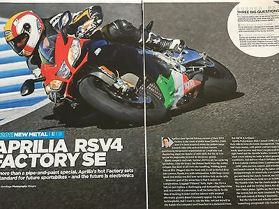 Aprilia Rsv4 Factory Se # 5 Page Original New Model Motorcycle Article