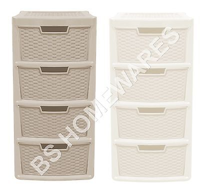 New Plastic Storage Drawer Unit Cabinet 3/4Tier Organizer Bedroom Office Drawers