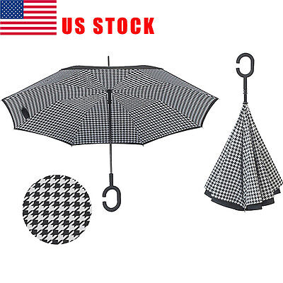 US C-Handle Double Layer Umbrella Windproof Folding Inverted Upside Down Reverse